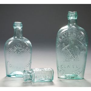 Two Aquamarine Glass Flasks and an Ointment Bottle