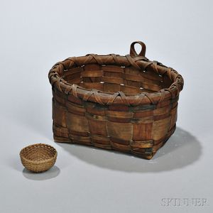 Paint-decorated Hanging Wall Basket and Miniature Round Basket