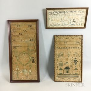 Three Framed Needlework Samplers