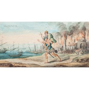 Continental School, 18th/19th Century    Aeneas Carrying His Father from Troy