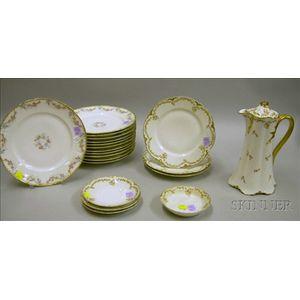 Set of Twelve Haviland/Chas. Field Limoges Gilt and Floral Decorated Porcelain Dinner Plates and Nine Haviland ...
