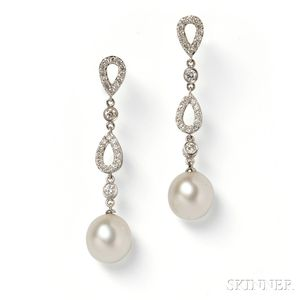 18kt White Gold, South Sea Pearl, and Diamond Earpendants