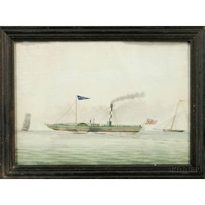 """Anglo/American School, late 19th century,      Portrait of the British Steamer """"ESSEX."""""""