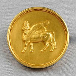 Assyrian Revival 15kt Gold Brooch