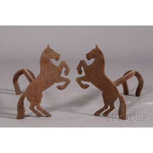 Pair of Sheet Iron Stallion-form Andirons with Horseshoe Terminals
