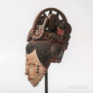 Ibo Maiden Spirit Helmet Mask, Agbogho Mmuo