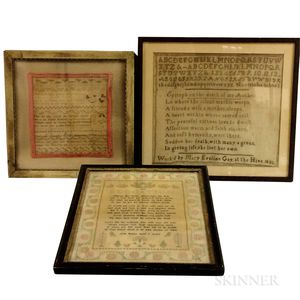 Three Framed Needlework Samplers