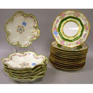 Limoges Set of Twelve Gilt and Floral Decorated Porcelain Dessert Plates and Set of Six Gilt and Floral Decorated Porcelain Shaped Dish