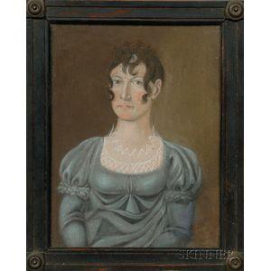 American School, 19th Century      Portrait of a Woman Wearing a Blue Dress.
