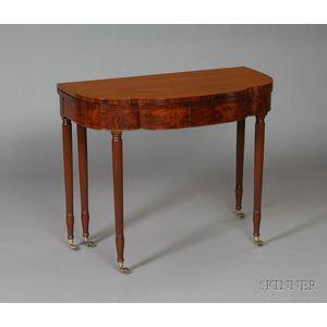 Federal Mahogany Carved and Mahogany Veneer Five-legged Card Table