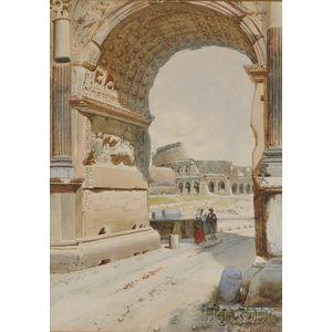Federico Schianchi (Italian, 1858-1919)      Figures by the Roman Coliseum