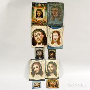 Ten Painted Tin Retablos.     Estimate $800-1,200
