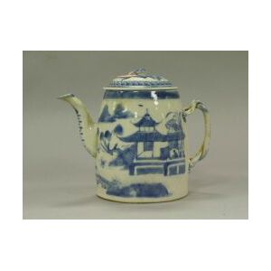 Canton Blue and White Porcelain Teapot.
