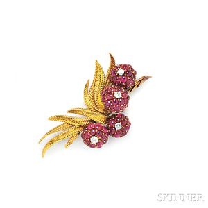 18kt Gold, Ruby, and Diamond Flower Brooch