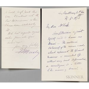 Huxley, Thomas Henry (1825-1895) Two Autograph Letters Signed, 1873 & 1874.