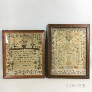 Two Framed English Needlework Samplers