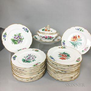 Twenty-four Paris Porcelain Hand-painted Porcelain Botanical Plates and a Tureen.     Estimate $200-400