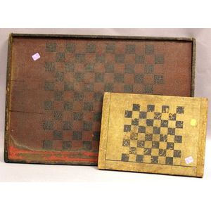Two Painted Wooden Game Boards.