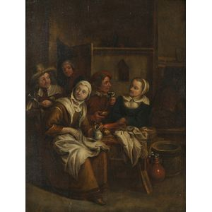 Dutch School, 17th Century Style      View of Figures in an Interior