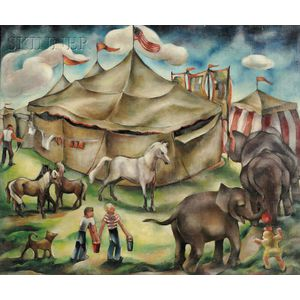 Hazel Finck (American, 1894-1977)      Circus Backyard