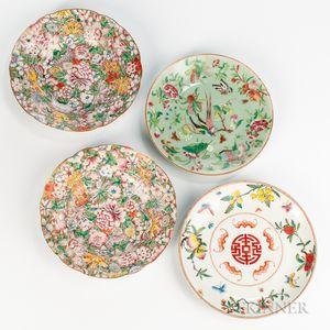 Four Enameled Plates
