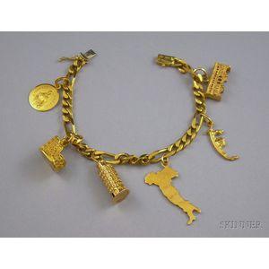 18kt Gold Italian Cities Themed Charm Bracelet