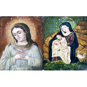 Two Painted Tin Retablos of Mary.     Estimate $200-400