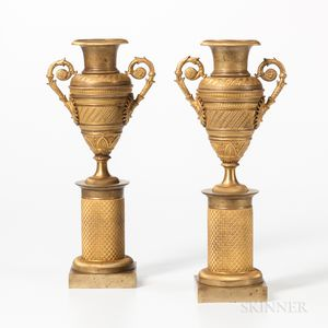Pair of French Empire Gilt-bronze Urns