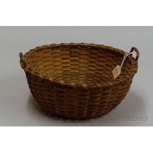 Round Woven Splint Basket with Handles