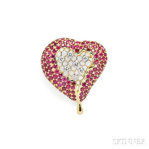 "18kt Gold, Ruby, and Diamond ""Honeycomb Heart"" Pendant, After Henryk Kaston"