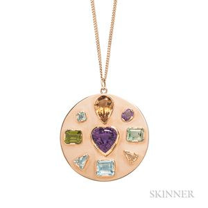 18kt Gold Gem-set Pendant