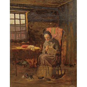 John Joseph Enneking (American, 1841-1916)      An Old Woman Sewing.