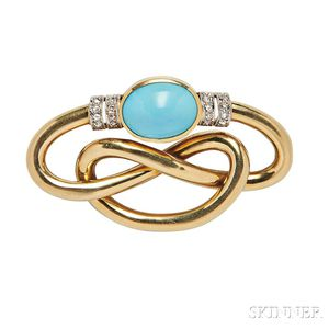 18kt Gold and Turquoise Brooch