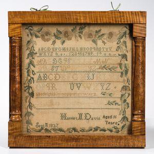 """Large Framed Needlework Sampler """"Harriet N. Davis,"""""""