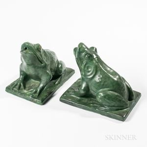 Pair of Molded and Green-glazed Terra-cotta Fountain Frogs