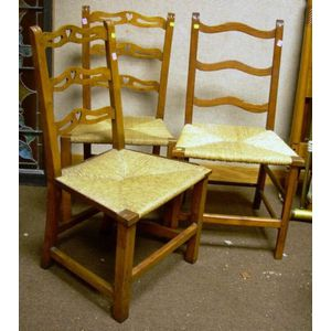 Set of Three Country Georgian Maple Ribbon-back Side Chairs with Heart Cut-outs.