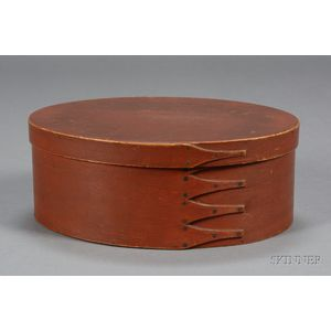 Red-stained Shaker Oval Covered Storage Box