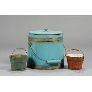 Two Small Painted Pine Wooden Pails and a Covered Firkin
