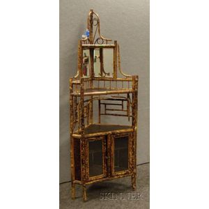 Victorian Bamboo and Japanese Lacquered Panel Corner Mirrored Etagere