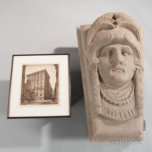 Large Carved Sandstone Keystone with Framed Engraving of Building