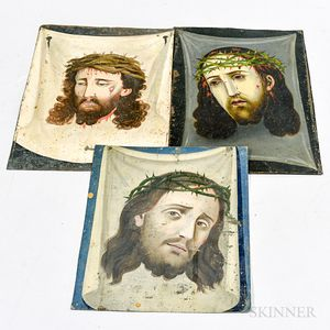 Three Painted Tin Retablos of Christ.     Estimate $200-400