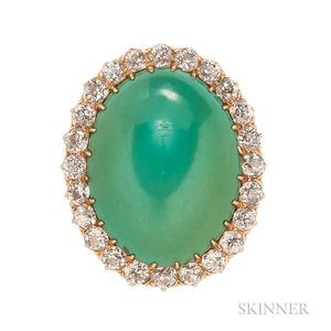 18kt Gold, Turquoise, and Diamond Ring