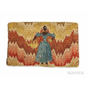 Rare Flame-stitch Wallet Depicting African American Figures