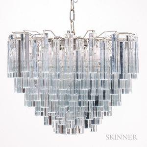 Venini Three-tier Chandelier with Murano Glass Prisms