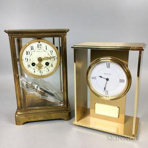 Two Tiffany & Co. Brass and Glass Shelf Clocks