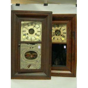 William S. Johnson and Seth Thomas Mahogany Veneer Ogee Mantel Clocks.