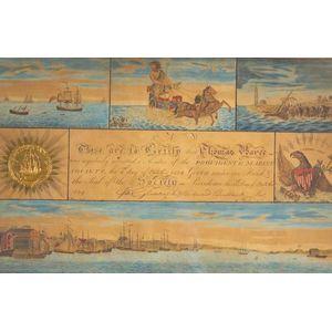 Framed Providence Marine Society Membership Certificate