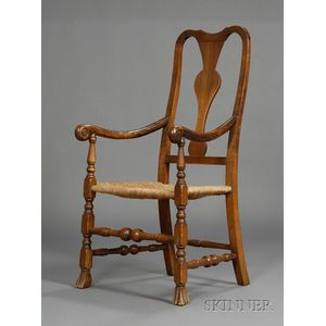 Queen Anne Maple Carved Arm Chair