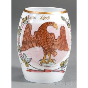 Enamel Decorated Bristol Glass Mug with Eagle Motif