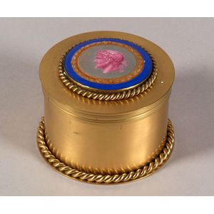 French Empire-style Brass and Porcelain Mounted Humidor